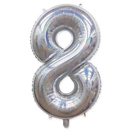 "Number ""8"" Silver Glitter (100cm.)"