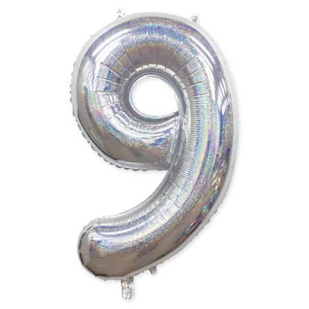 "Number ""9"" Silver Glitter (100cm.)"
