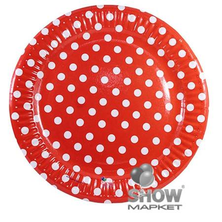 """Paper Plate """"Dots"""" Red (6 pcs.)"""