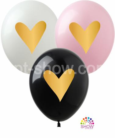 """Balony """"Złote Serce"""" (10 szt.)"""