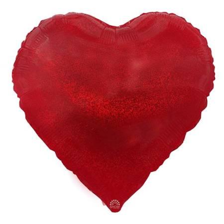 """Serce Foliowe Czerwone Brokat 18"""" (45cm.)"""